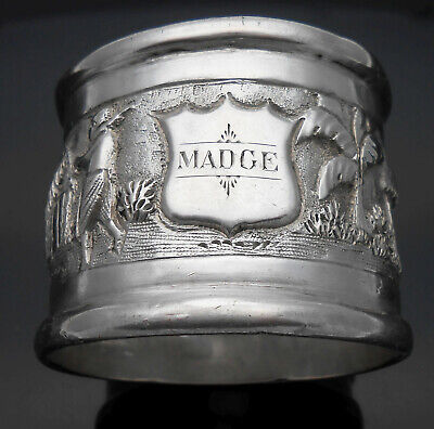 Antique Silver Napkin Ring For Madge - South Asian - White Metal