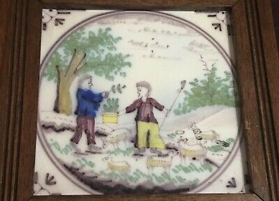 18th Century English Delft Tile Ceramic Delftware Polychrome Sheep & Herders