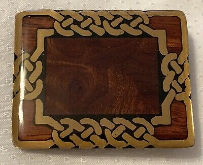 Vintage Harmony Metal Brass Wood Inlay Belt Buckle