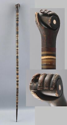19thC Antique American Folk Art, Horn-Wafer Cane w/ Carved Hand & Post, NR