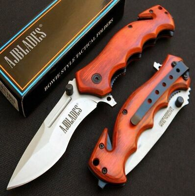 Spring Assisted Open Tactical Rescue Wood Handle Pocket Knife  - [AJ502]