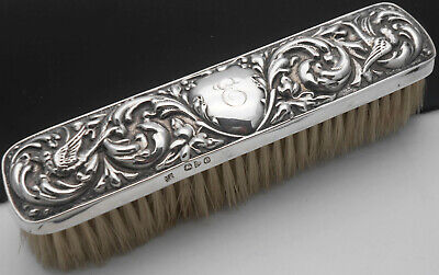 Initial 'E' Sterling Silver Clothes Brush - Chester 1897 - Victorian Antique
