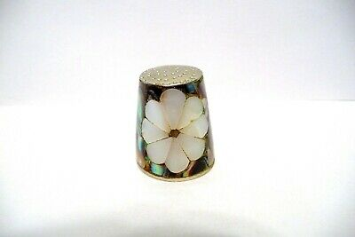 Thimble Vintage Hecho En Mexico Mother Of Pearl Flower W/Panels Of Abalone