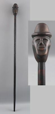 Antique Early 20thC American Folk Art Hand Carved Wood Cane, Man & Bowler Hat