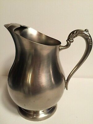 Vintage F B Rogers Silver Co Silver Plated Water Pitcher with Ice Stop
