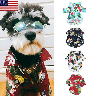 Pet Dog Floral Printed Beach Hawaiian Shirt For Small Large Dog Clothes Vest SH
