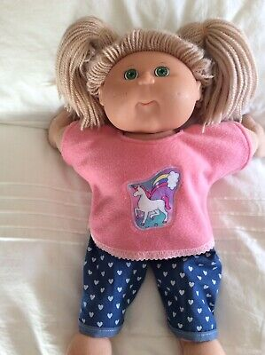 """DOLLS CLOTHES TO FIT 16"""" CABBAGE PATCH DOLL -  Pants & Top - Rainbow Unicorn"""