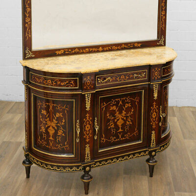 FRENCH LOUIS-FURNITURE large BUFFET with MIRROR, ANRICHTE - SCHRANK mit SPIEGEL