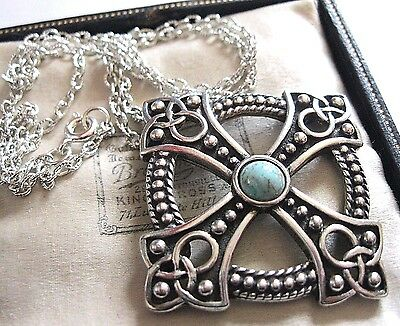 New Miracle Jewellery Celtic Turquoise Pendant Necklace Vintage Style