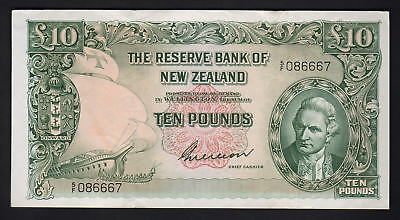 NEW ZEALAND P-161b. (1955) 10 Pounds - Wilson.  Prefix 5/F..   gEF