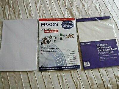 New A4 Premium Parchment Paper 90gsm White Card Epson Media Pack Art & Crafts