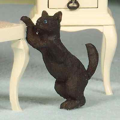 DOLLS HOUSE 1/12th SCALE PLAYFUL BLACK  CAT  RESIN FIGURE