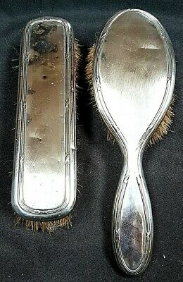 Antique French Silver Backed Hair Brush & Clothes Brush Hern Etienne & Cie c1920