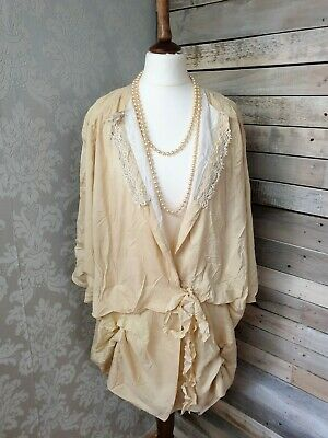 1930's Vintage Cream Silk Opera Duster Coat With Victorian Lace Bloomsbury Style