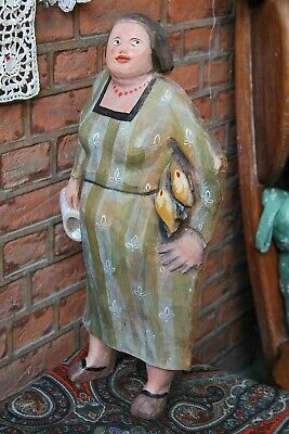 Vintage wooden sculpture of a standing woman with a beer mug, handmade, painted