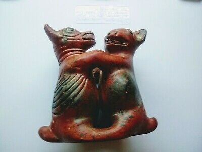Antique South American Pottery dancing dog figurines