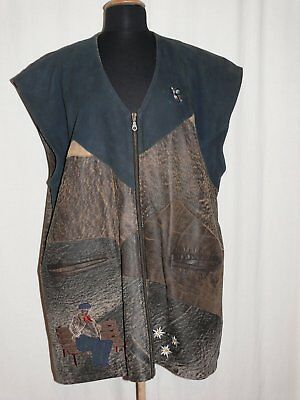 Exceptional Traditional Costume Country Leather Vest with Embroidery Brown/Blue