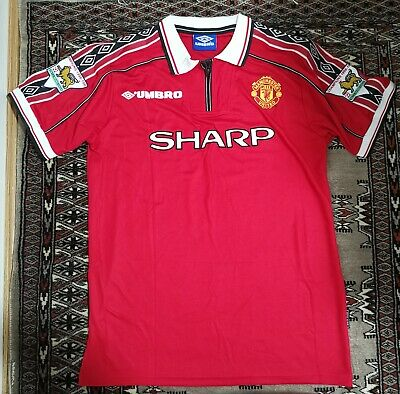 Manchester United 1998 1999 Retro Football Shirt Man Utd Jersey BECKHAM 7 - L