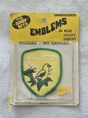 NEW JERSEY Embroidered Patch Emblem - Vintage 1970's