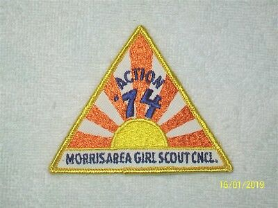 Action '74 Morris Area Girl Scout Cncl. Embroidered Patch Applique - 1970's