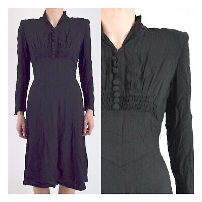 1940s ORIGINAL VINTAGE BLACK LANDGIRL DRESS 12
