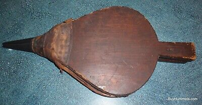Primitive Early Antique Wood Leather And Brass Fireplace Bellows OLD NAILS RARE!
