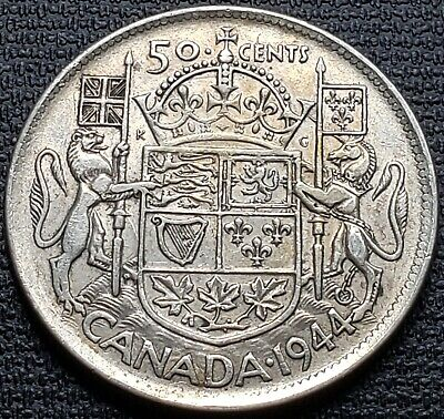 1944 Canada 80% Silver 50 Cent Half Dollar - Near 4 Variety - Great Condition