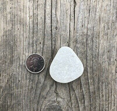 Genuine Sea Glass, White/Clear, Surf Tumbled, Frosted, Pendant, Jewelry Quality