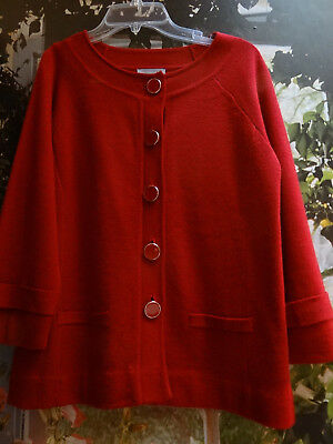 CLASSY Deluxe Amber Sun Brick Rusty Red Lovely XS S Cardigan Sweater NWOT