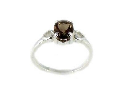 Antique 19thC 1ct Smoky Quartz Round Cairngorm Scotland Gemstone Sterling Ring