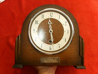 A Very Nice Enfield Antique Mantle Clock With Silver Plaque Dated 1916 To 1949