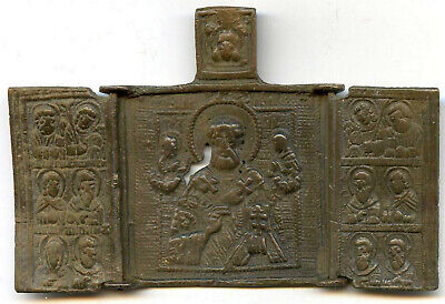 RUSSIAN 18 Century ORTHODOX BRONZE ICON 3 Panel Folding Skladen SAINT NICHOLAS