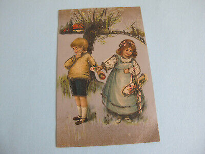 Children Postcard Printed in Saxony Light glitter in parts