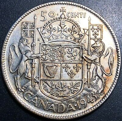 1943 Canada 50 Cent Half Dollar Coin ***Wide Date Variety*** 80% Silver