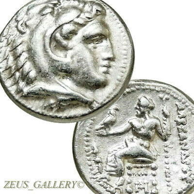 ALEXANDER the Great RARE Lifetime Coin XF Herakles Ancient Greek Silver Drachm