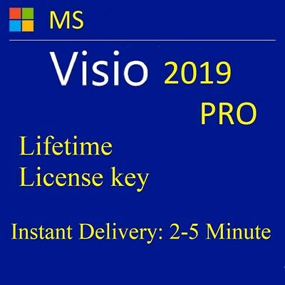 VISIO 2019 PRO Plus,Genuine License, Activation KEY,Version for 1 PC, INSTANT