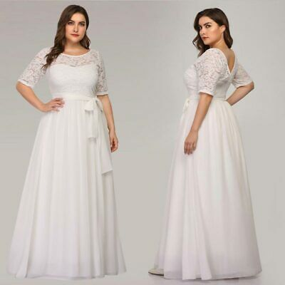 EVER-PRETTY US PLUS Size White Wedding Gowns Formal Lace ...