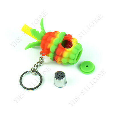 1x 3'' pineapple cute Small Silicone hand Smoking Pipe Tobacco Bowl kit keychain