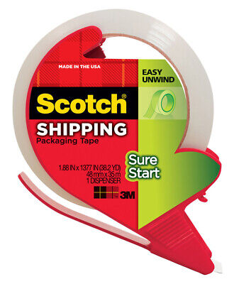 Scotch  1.88 in. W x 38.2 yd. L x 1.88 in. W x 38.2 yd. L Packaging Tape  Clear
