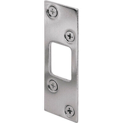 Prime-Line  2.25 in H x 1-5//8 in L Brass Plated  Steel  Latch Strike Plate
