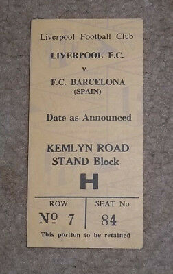 1976 UEFA Cup Semi Final Ticket Liverpool v Barcelona  ORIGINAL