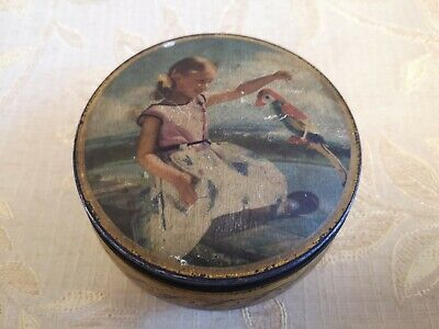 Vintage Edward Sharp & Sons Ltd. Of Maidstone Kent ''Girl And Parrot'' Tin