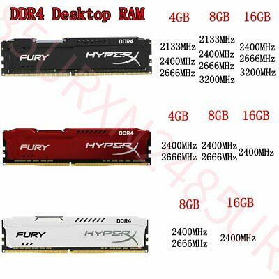 32GB 16GB 8GB 4GB DDR4 2133 2400 2666 3200 Desktop Memory For HyperX FURY Lot UK