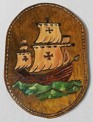 Vintage Wood Carved Pirate Ship Wall Plaque Handmade Hand Painted Folk Art RARE