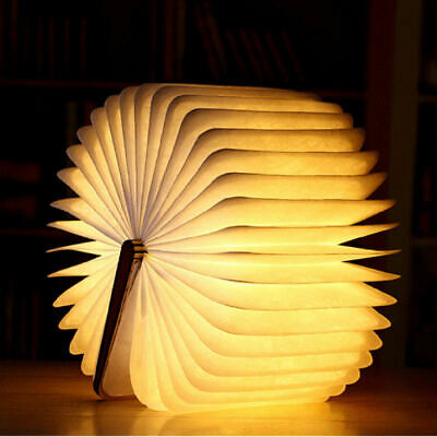 Creative Wood Grain Book Lamp USB Wooden Folding Book  Rechargeable LED New