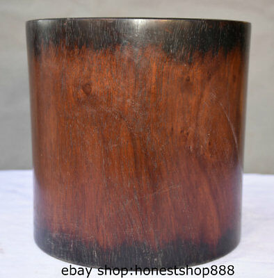 """8"""" Collect Old China Huanghuali Wood Palace Carving Study Brush Pot Pencil Vase"""