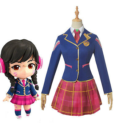 Game OW Overwatch D.va DVA Cosplay Costume School Uniform Outfit Full Set Suit
