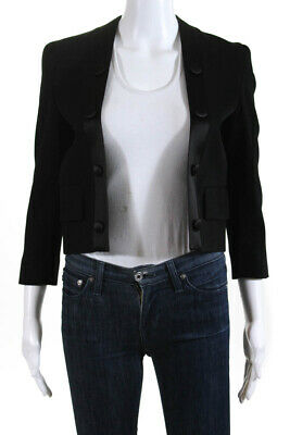 Givenchy  Womens Cropped Crepe Jacket Black Wool Silk Lapel Size 34