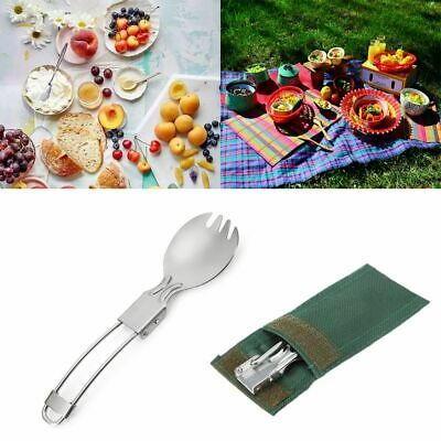 Foldable Folding Stainless Steel Spoon Spork Fork Camping Picnic Cook Tool
