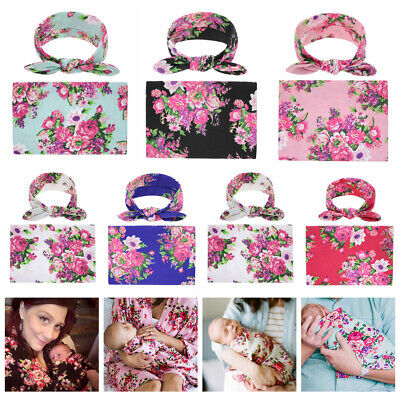 Newborn Baby Floral Swaddle Wrap Swaddling Sleeping Bag Blanket & Headband Set